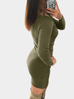Army Green Round Neck Bodycon Mini Dress