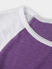 Purple Spell Color Round Neck Long Sleeves T-shirt