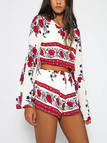 Multi Backless Design Floral Print Round Neck Bell Sleeves Playsuits