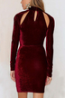 High Neck Cut Out mini Dress in Burgundy