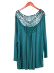Invisible Green Loose Hollow Out Round Neck Blouse