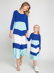 Mom and Me Stripe Round Neck Long Sleeves Dress