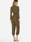 Olive Deep V Neck Self-tied Long Sleeves High-waisted Playsuit