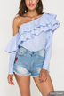 Pinstriped Flouncy One Shoulder Top in Blue