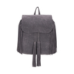 Grey Fringe Backpack with Foldover Flap
