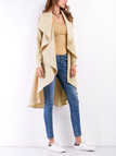 Khaki Long Sleeves Irregular Causal Cardigan