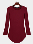 Round Neck Curved Hem Bodycon Fit Dress in Burgundy