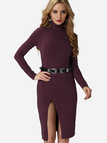 Burgundy High Neck Slit Hem Bodycon Dress