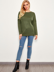 Army Green Backless Crossed-back Design Round Neck Long Dolman Sleeve Sweater