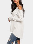 White Cold Shoulder Long Sleeves Knitted Top