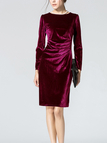 Burgundy Long Sleeve Body-Conscious Velvet Dress