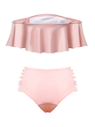 Pink Off The Shoulder Ruffle Trim Bikini Set