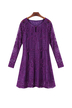Plus Size Purple Lace Dress with Long Sleeve