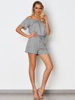 Grey Pocket Design Off The Shoulder Short Sleeves Playsuit