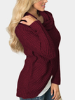 Burgundy Fashion Crossed Front Design Turtleneck Long Sleeves Irregular Hem Sweaters