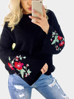 Black Embroidery Pattern Round Neck Bell Sleeves Jumper