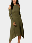 Army Green Solid Color Cold Shoulder Midi Dresses