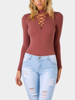 Red Crossed High Neck Body-con Bodysuit
