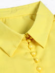 Yellow Lapel Collar Long Sleeves Blouse