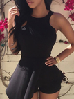 Black Sleeveless Playsuit with Layered Details