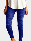 Blue Elasticity Bodycon High-waisted Pants