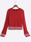 Red Round Neck Pullover Jumper