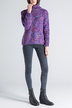 Purple Roll Neck Sweater In Melange Knit