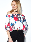 Random Floral Print Short Sleeves Off Shoulder Top