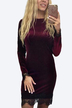 Burgundy Casual Velvet Round Neck Lace Hem Details Dress