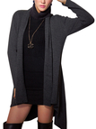 Dark Grey Lapel Collar Knitted Cardigan with Open Front