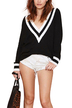 Deep V-neck Contrast Striped Trim Jumper