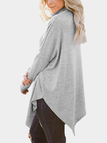 Grey Oversize Mock-neck Irregular Hem Asymmetrical Top