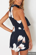 Navy Sexy Strapless Random Floral Print Choker Playsuit