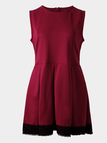 Red Lace Details Round Neck Sleeveless Dress