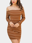 Apricot  Knitting design Stripe Off The Shoulder Long Sleeves Dresses