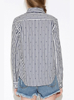 Navy Blue and White Stripe Shirt with Star Print