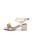 Apricot Woven Strap Across With Pompoms Lace-up Heeled Sandals