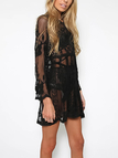 Black Floral Lace V-neck See-through Casual Dress
