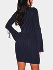 Navy Lace-up Bell Sleeves Round Neck Midi Knit Dress