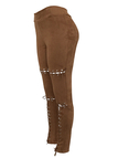 Brown High Waist Lace-up Design Tight Suede Pants