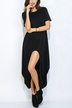 Black Round Neck Dress with Irregular Hem
