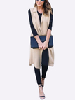 Khaki Lightweight Lapel Collar Sleeveless Long Trench Coat