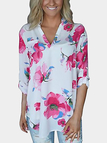 White V-neck Roll up Sleeves Random Floral Print Blouse