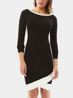 Black Round Neck Long Sleeves Knee Length Dress