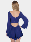 Hollow Out V-back Playsuit in Blue