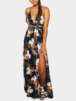 Sexy V-neck Random Floral Print Open Back Splited Hem Dress