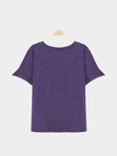 Purple V-neck Easy Matching T-shirt