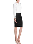 Black High Rise Pencil Skirt In Floral Lace
