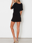 Black Lace-up Short Sleeves Mini Dress