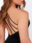 Black Sexy Cold Shoulder Backless Dress with Zipper Design